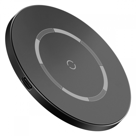 Incarcator wireless Baseus simple cu magnet, 15W, suporta incarcare QC & PD, USB-C, Negru [1]