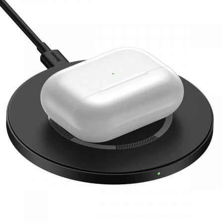 Incarcator wireless Baseus simple cu magnet, 15W, suporta incarcare QC & PD, USB-C, Negru [3]