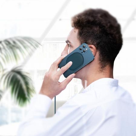 Incarcator wireless Baseus pentru iPhone 12, 15W, suport PD, cablu 1.5m, protectii integrate, albastru4