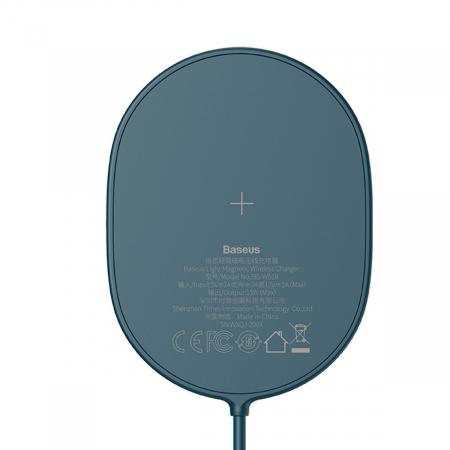 Incarcator wireless Baseus pentru iPhone 12, 15W, suport PD, cablu 1.5m, protectii integrate, albastru3