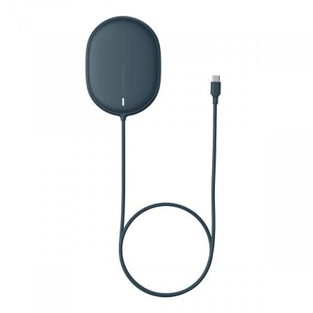 Incarcator wireless Baseus pentru iPhone 12, 15W, suport PD, cablu 1.5m, protectii integrate, albastru1
