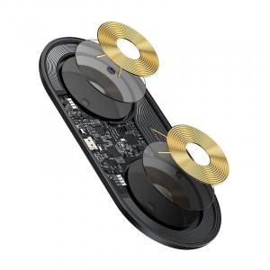 Incarcator dual wireless Baseus Simple 2 in 1, 15 wati, transparent, pentru telefoane si AirPods [4]
