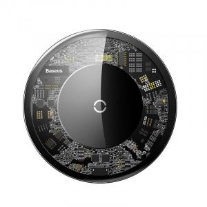 Incarcator wireless Baseus Simple pentru telefoane, incarcare rapida QI, 10 wati, transparent, negru0