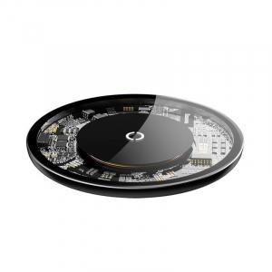 Incarcator wireless Baseus Simple pentru telefoane, incarcare rapida QI, 10 wati, transparent, negru2