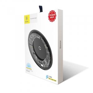 Incarcator wireless Baseus Simple pentru telefoane, incarcare rapida QI, 10 wati, transparent, negru4