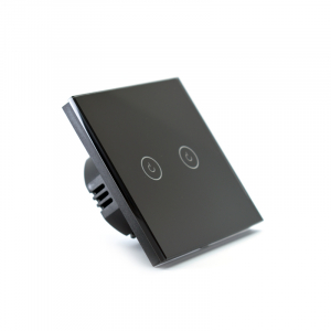 Intrerupator dublu smart Vhub cu touch, panou sticla, Wifi integrat 2.4GHz, compatibil Google & Alexa, negru3