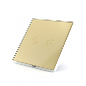 Intrerupator dublu smart Vhub cu touch, panou sticla, Wifi integrat 2.4GHz, compatibil Google & Alexa, gold1