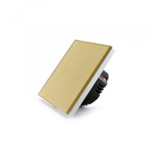 Intrerupator dublu smart Vhub cu touch, panou sticla, Wifi integrat 2.4GHz, compatibil Google & Alexa, gold5