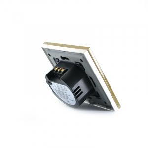 Intrerupator dublu smart Vhub cu touch, panou sticla, Wifi integrat 2.4GHz, compatibil Google & Alexa, gold4