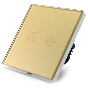 Intrerupator dublu smart Vhub cu touch, panou sticla, Wifi integrat 2.4GHz, compatibil Google & Alexa, gold0