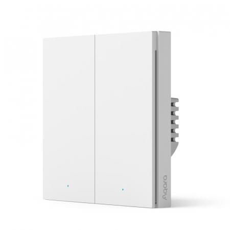 Intrerupator incastrat Aqara H1 dublu, cu nul, model 2021, Zigbee 3.0, versiune europeana, compatibil Aqara Home, Homekit, Google Home, IFTTT [0]