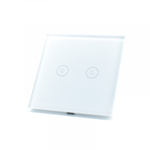 Intrerupator dublu smart Vhub cu touch, panou sticla, Wifi integrat 2.4GHz, compatibil Google & Alexa, alb3