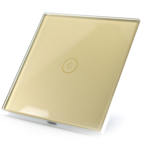 Intrerupator smart Vhub cu touch, panou sticla, Wifi integrat 2.4GHz, compatibil Google & Alexa, gold