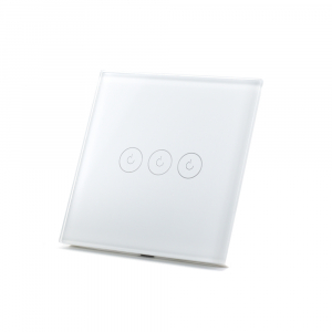 Intrerupator triplu smart Vhub cu touch, panou sticla, Wifi integrat 2.4GHz, compatibil Google & Alexa, alb1