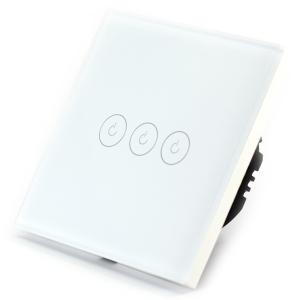 Intrerupator triplu smart Vhub cu touch, panou sticla, Wifi integrat 2.4GHz, compatibil Google & Alexa, alb0