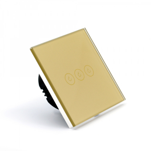 Intrerupator triplu smart Vhub cu touch, panou sticla, Wifi integrat 2.4GHz, compatibil Google & Alexa, gold3