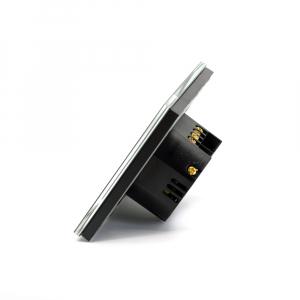 Intrerupator triplu smart Vhub cu touch, panou sticla, Wifi integrat 2.4GHz, compatibil Google & Alexa, negru2