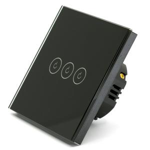 Intrerupator triplu smart Vhub cu touch, panou sticla, Wifi integrat 2.4GHz, compatibil Google & Alexa, negru0