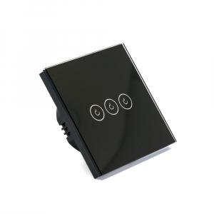 Intrerupator triplu smart Vhub cu touch, panou sticla, Wifi integrat 2.4GHz, compatibil Google & Alexa, negru4