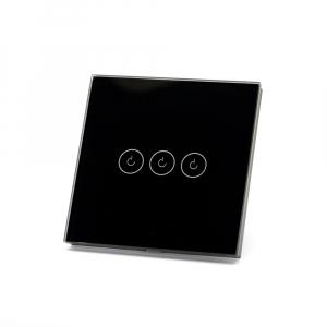 Intrerupator triplu smart Vhub cu touch, panou sticla, Wifi integrat 2.4GHz, compatibil Google & Alexa, negru1
