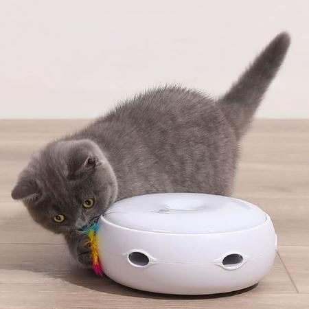 Jucarie smart pentru pisici Homerunpet CT10, 3 moduri de setare, pene curcan naturale, indicator LED [2]