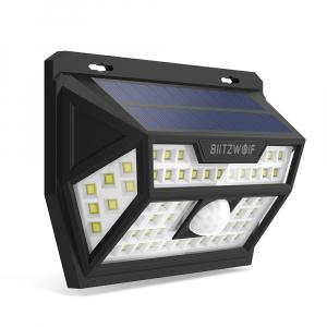 Lampa solara Blitzwolf de perete cu senzor de miscare si lumina, 2200mAh, 350 lumeni, 62 LED-uri, IP64, 6500K0