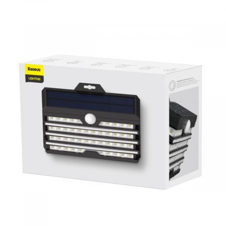 Lampa LED solara Baseus pentru exterior, senzor de miscare, 89 LED-uri, IPX5,1200 mAh3