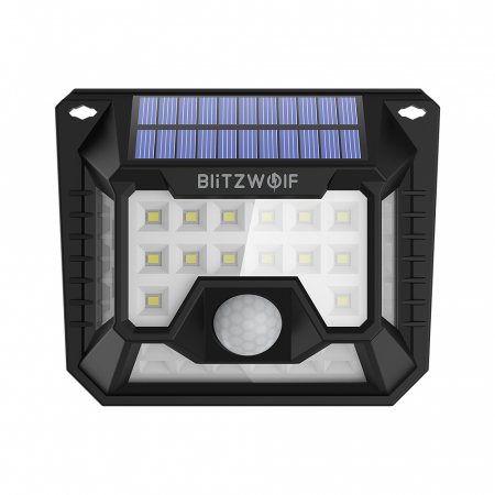 Set lampi solare Blitzwolf BW-OLT3, 2 buc, 1200mAh, 6500K, unghi iluminat  270°, senzor de miscare si de lumina, 200 lumeni, waterproof IP642