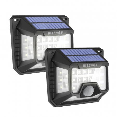 Set lampi solare Blitzwolf BW-OLT3, 2 buc, 1200mAh, 6500K, unghi iluminat  270°, senzor de miscare si de lumina, 200 lumeni, waterproof IP640