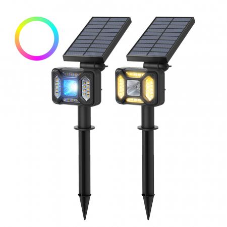 Lampa solara LED Blitzwolf OLT5 pentru gradina, auto RGB plus lumina alba, 1800mAh, waterproof IP44, pana la 15h autonomie0