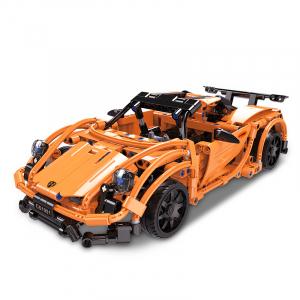 Set constructie masinuta curse RC Porsche 918, telecomanda 2.4Ghz, 421 piese compatibile LEGO, 400 mAh0