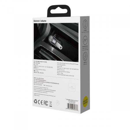 Modulator & incarcator auto Baseus Energy column, 18W, QC3.0,  AFC, FCP, 2xUSB, Bluetooth 5.0, monitorizare voltaj, redare muzica de pe stick [6]