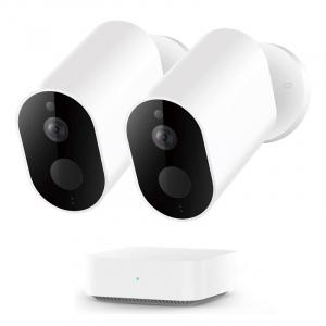 Pachet supraveghere video exterior Xiaomi Imilab EC2, 2 camere, gateway, versiune europeana, compatibil MI Home EU, 1080P, IP66, detectie miscare, infrarosu, AI0