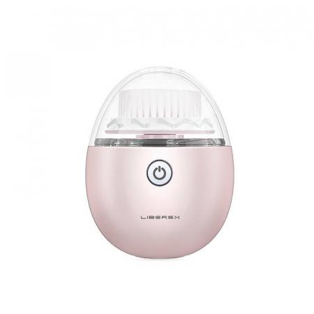 Perie ultrasonica pentru curatare faciala Liberex Egg, 3 perii incluse, waterproof IPX6, 30 zile autonomie, pink0