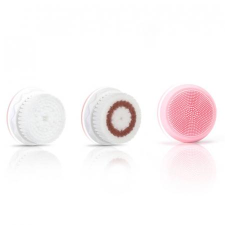Perie ultrasonica pentru curatare faciala Liberex Egg, 3 perii incluse, waterproof IPX6, 30 zile autonomie, pink1