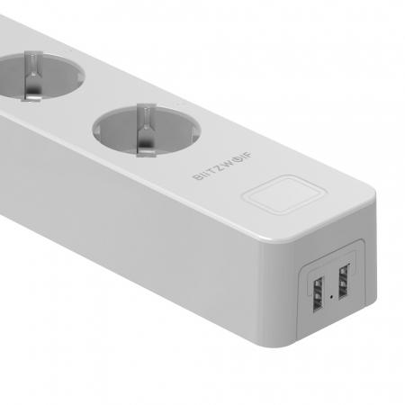 Prelungitor smart Blitzwolf SHP9 EU, WiFi 2.4Ghz, 3300W, 15A, 3 prize, dual USB 2.4A, compatibil Smart Life, Google Home, Alexa2