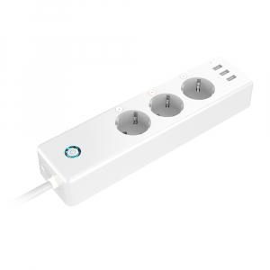 Prelungitor smart Gosund EU, WiFi, 16A, 3680W, monitorizare consum, 3 sloturi priza, 3 x USB Quick Charge, compatibil Smart Life, Google Home, Alexa1