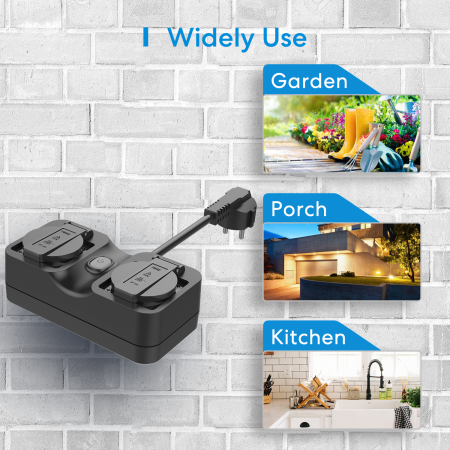 Priza dubla de exterior smart Meross IP44, Wi-Fi, 10A, compatibila Apple HomeKit, Google Home, Alexa, SmartThings, IFTTT3