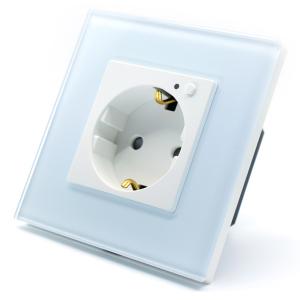 Priza inteligenta Vhub, rama din sticla, Wireless 2.4GHz, 16A, cu protectie, compatibila Google & Alexa, alba0