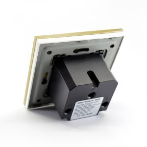 Priza inteligenta Vhub, rama din sticla, Wireless 2.4GHz, 16A, cu protectie, compatibila Google & Alexa, gold4