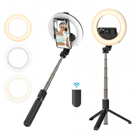 Selfie stick & tripod 3 in 1 BlitzWolf BW-BS8 Pro cu inel LED, 1200 mAh, telecomanda inclusa2