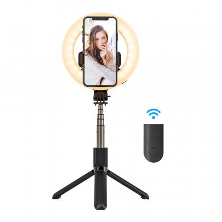 Selfie stick & tripod 3 in 1 BlitzWolf BW-BS8 Pro cu inel LED, 1200 mAh, telecomanda inclusa0