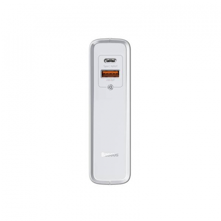 Statie incarcare Baseus tehnologie GaN 2 in 1, powerbank si incarcator C+U, protectii integrate, 1000mAh 45W, EU Alb2