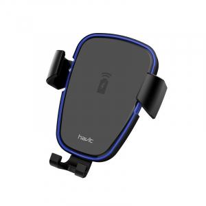 Suport & Incarcator wireless auto Havit pentru telefoane, aliaj aluminiu si ABS, QI, inel LED3