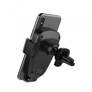 Suport & Incarcator wireless auto Havit pentru telefoane, aliaj aluminiu si ABS, QI, inel LED5