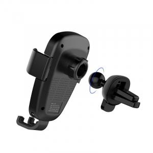 Suport & Incarcator wireless auto Havit pentru telefoane, aliaj aluminiu si ABS, QI, inel LED6
