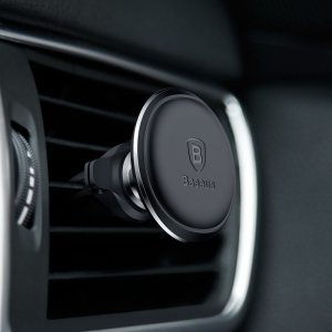 Suport auto magnetic Baseus, rotatie 360 grade, organizator cabluri, prindere in grila ventilatie, negru [4]
