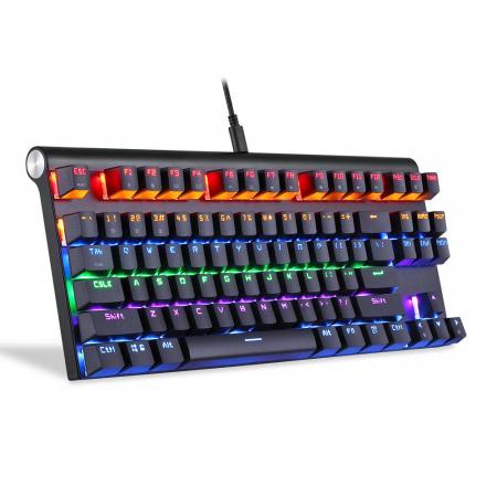 Tastatura mecanica gaming Motospeed K83 cu bluetooth & iluminare RGB, OUTEMU Blue [0]