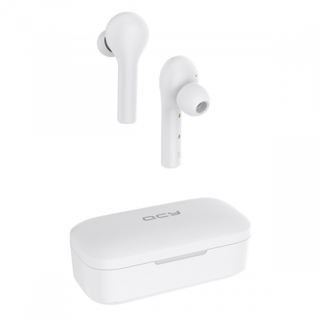 Xiaomi QCY T5 TWS albe, casti wireless cu bluetooth 5.0, AAC, IPX4 waterproof, touch control, 380mAh [2]