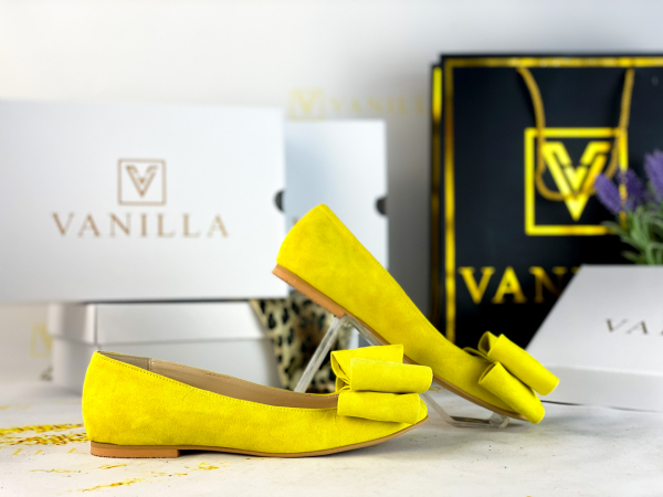 Balerini piele intoarsa Leona Yellow 1